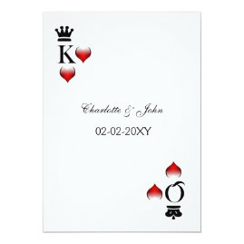 Simple King and Queen Card Vegas Wedding Invitations