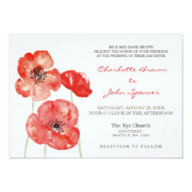 Red Poppies Floral Wedding Invitations