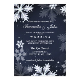 Navy   and White Snowflakes Winter Wedding Invitations