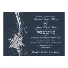 Blue   and Silver Snowflakes Winter Wedding Invitations