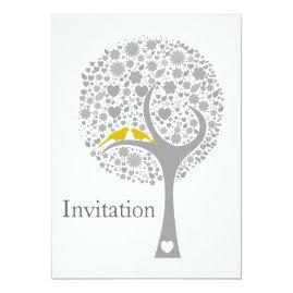 Yellow   Gray Lovebirds Wedding Invitations