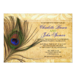 Rustic Peacock Wedding Invitations