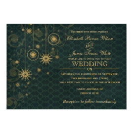 Gold  and Green Snowflakes Winter Wedding Invitations