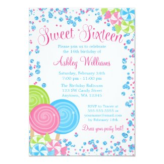 Blue Faux Glitter Candy Theme Sweet 16 Card