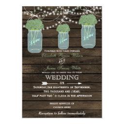 Rustic   Sage Flowers  Barn Wood Mason Jars Wedding Invitations