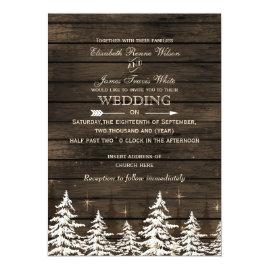 Pines   and Barn Wood Rustic Winter Wedding Invitations