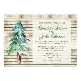 Barn   Wood Pine Rustic Winter Wedding Invitations