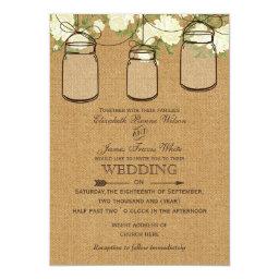 Burlap   Roses Mason jar Barn Wood Wedding Invitations