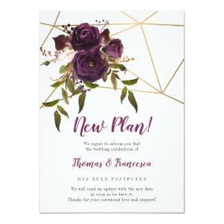 New Plan! Plum Floral Geometric Postponed Wedding Invitation