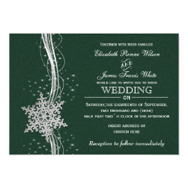 Green   and Silver Snowflakes Winter Wedding Invitations