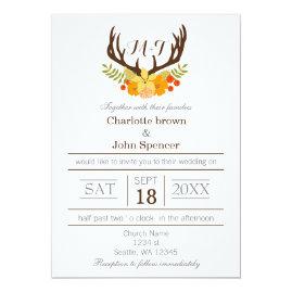 Floral Antler Wedding Invitations
