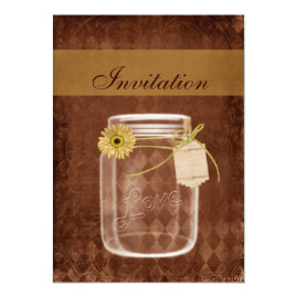 Rustic Sunflower Mason jar Wedding Invitations
