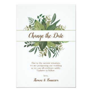 Change the Date Rustic Leaves Postponed Wedding Invitation