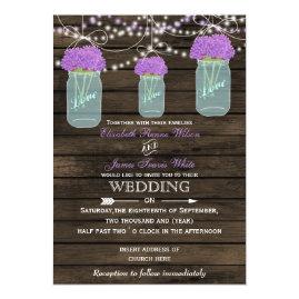 Purple   Flowers in Mason jar Barn Wood Wedding Invitations