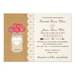 Burlap   Lace Mason Jar Floral Wedding Invitations