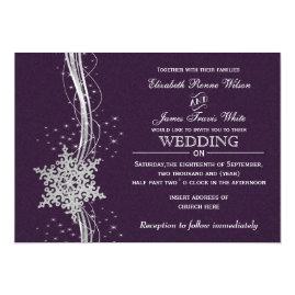 Purple   and Silver Snowflakes Winter Wedding Invitations
