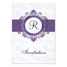 Simple  Monogram Purple Wedding Invitations