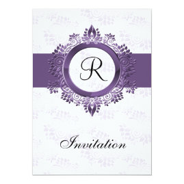 Simple  Monogram Purple Wedding Invitations