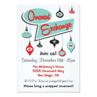 Retro Ornament Exchange Christmas Invitation