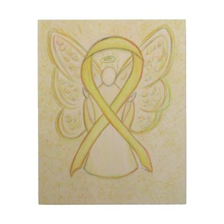 Yellow Awareness Ribbon Angel Custom Wood Print