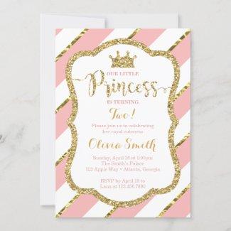 Little Princess Birthday Invitation in Pink & Gold