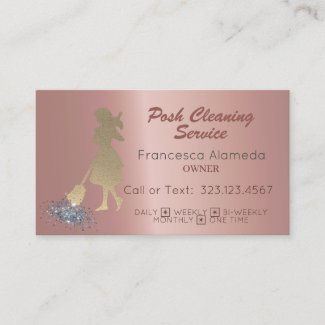 Posh Cleaning Service Metallic Rose Gold Template Business Card