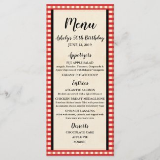 Picnic BBQ, Bridal Shower, Wedding, Party Menu