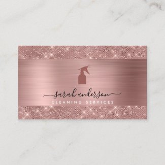 Rose Gold Chic Cleaning Services Business Card