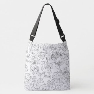 Hummingbirds and Flowers Adult Coloring Page Tote Bag