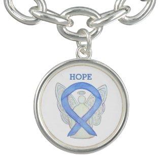 Periwinkle Awareness Ribbon Angel Charm Bracelet