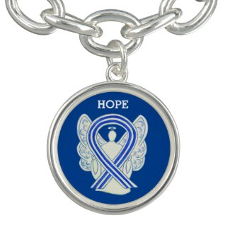 ALS Awareness Ribbon Angel Charm Bracelet