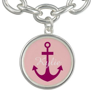 Girly Pink Personalized Anchor Charm Bracelet