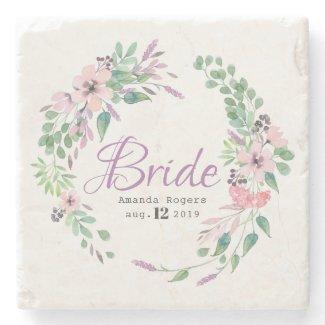 Bride Typography Colorful Spellbound Floral Wreath Stone Coaster