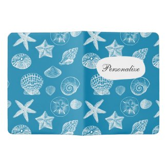 Nautical Beach Shells Aqua White Extra Large Moleskine Notebook