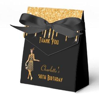 Black gold 1920's art deco glitter retro birthday favor box