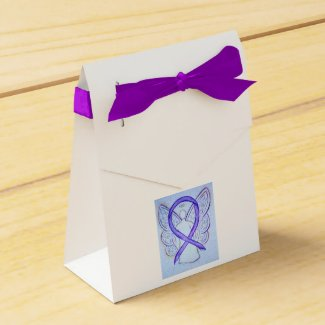 Violet Awareness Ribbon Angel Party Favor Boxes