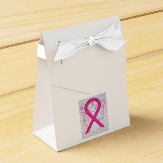 Hot Pink Awareness Ribbon Angel Party Favor Boxes