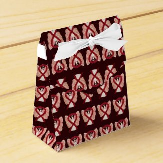 Burgundy Awareness Ribbon Angel Party Favor Boxes