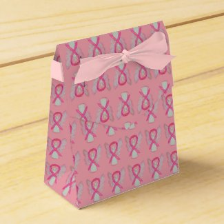 Pink Awareness Ribbon Angel Party Favor Boxes