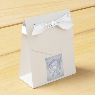 Light Gray Awareness Ribbon Angel Party Favor Box