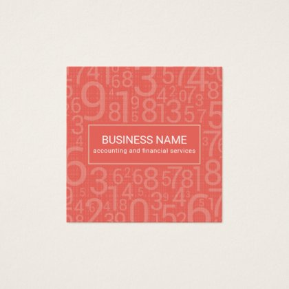 Pink Salmon Custom Color Abstract Numbers Feminine Accounting and Finance Business Cards Template