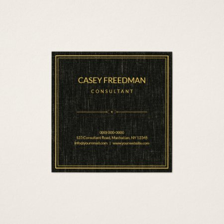 Classy Black Linen Background with Gold Border and Simple Ornate Divider Consultant Square Business Cards