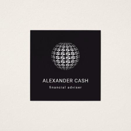 Money Sphere Square Custom Color Financial Adviser Business Cards Templates