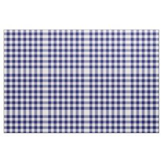 Classic Navy and White Gingham Plaid Blocks Fabric