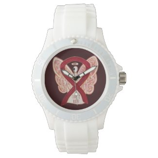 Time to Hope Burgundy Awareness Ribbon Watches