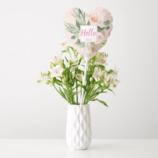 Modern Watercolor Pink Flowers & Hello & Name Balloon