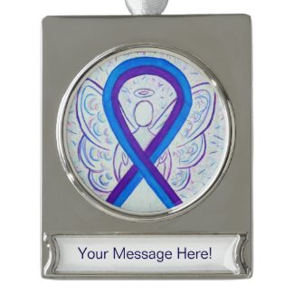 Blue and Purple Awareness Ribbon Angel Ornament