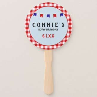 Picnic Reunion Red Checkered Tablecloth Summer Hand Fan