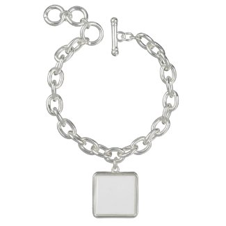 Square Charm Bracelet, Silver Plated