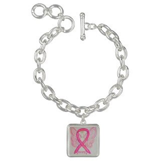 Pink Awareness Ribbon Angel Jewerly Charm Bracelet